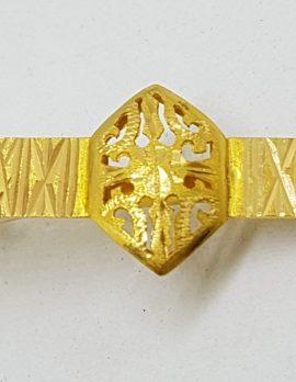 22ct Yellow Gold Ornate Filigree Tie Clip / Tie Bar