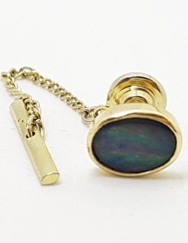 9ct Yellow Gold Oval Opal Stick Pin / Brooch / Tie Pin