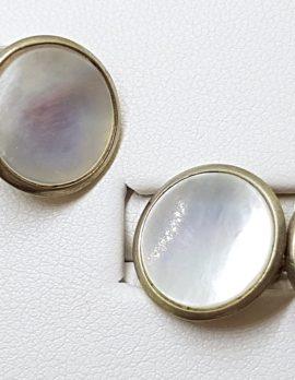 9ct Gold Round Mother of Pearl Round Cufflinks - Vintage / Antique