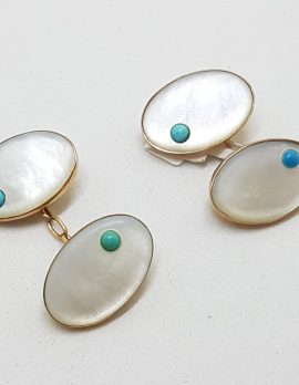 9ct Yellow Gold Oval Mother of Pearl with Turquoise Cufflinks - Vintage / Antique