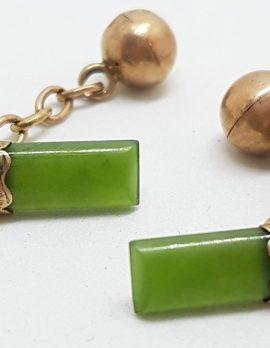 9ct Yellow Gold Ornate Rectangular Shape New Zealand Green Stone Jade Cufflinks - Vintage / Antique