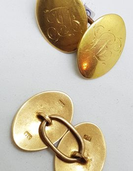 """9ct Yellow Gold Initialled """"L.B.J"""" Oval Cufflinks - Vintage / Antique"""