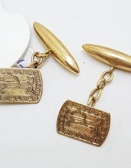 "9ct Rose Gold Initialled ""P.L."" Ornate Rectangular Cufflinks - Vintage / Antique"