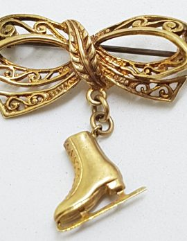 9ct Yellow Gold Ornate Filigree Bow with Ice-Skating Boot Brooch - Antique / Vintage