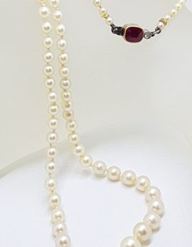 14ct Yellow Gold and Platinum with Red Stone and Diamond Clasp on Cultured Pearl Necklace - Antique / Vintage