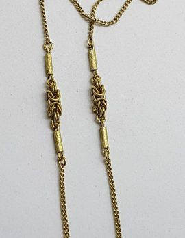9ct Yellow Gold Necklace with Ornate Twist Link - Antique / Vintage