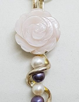 Sterling Silver Carved Mother of Pearl Rose and Pearl Twist Pendant on Silver Chain