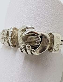 Sterling Silver Vintage Unusual Claddagh Ring - Three Rings in One