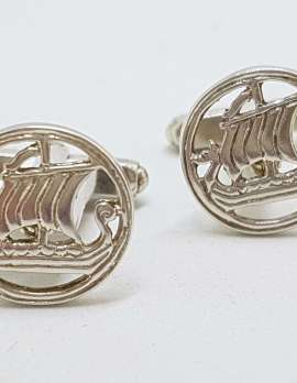 Sterling Silver Vintage Round Viking Ship / Boat Cufflinks