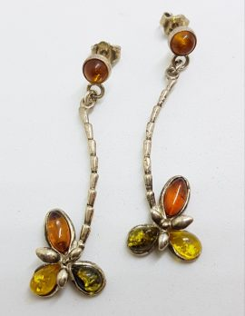 Sterling Silver Multi-Colour Natural Amber Long Cluster Drop Earrings