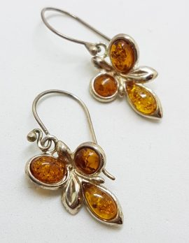 Sterling Silver Natural Baltic Amber Cluster Drop Earrings