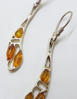 Sterling Silver Natural Baltic Amber Unusual Long Drop Earrings