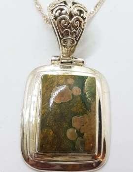 Sterling Silver Rectangular Green Jasper Pendant on Silver Chain