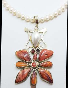 Sterling Silver Very Large Ornate Coral, Pearl and Garnet Pendant on Pearl Chain Necklace