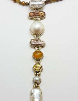 Sterling Silver Very Long Drop Pearl ( Blister and Mabe ) with Citrine Pendant on Tiger Eye Bead Necklace