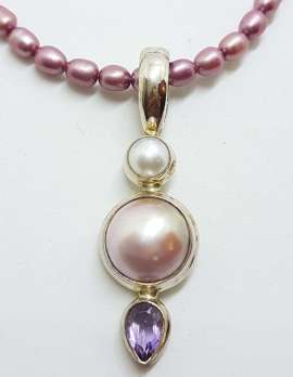 Sterling Silver Long Mabe Pearl & Amethyst Pendant on Dark Pink Pearl Necklace Chain