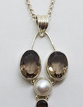 Sterling Silver Smokey Quartz and Pearl Pendant on Silver Chain