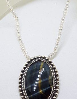 Sterling Silver Large Oval Blue Tiger Eye Pendant on Pearl Chain / Necklace