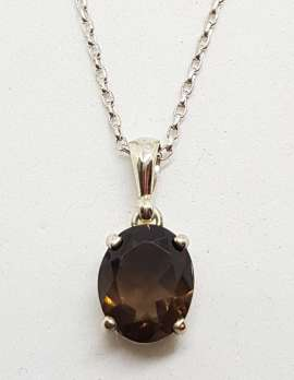 Sterling Silver Oval Claw Set Smokey Quartz Pendant on Silver Chain