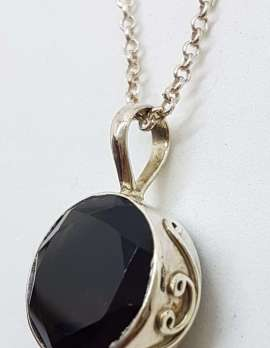 Sterling Silver Round with Ornate Sides Smokey Quartz Pendant on Silver Chain