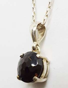 Sterling Silver Round Unusual Faceted Smokey Quartz Pendant on Silver Chain