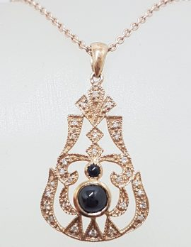 9ct Rose Gold Onyx and Diamond Pendant on 9ct Chain