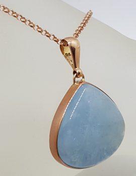 9ct Rose Gold Cabochon Cut Aquamarine Pendant on 9ct Chain