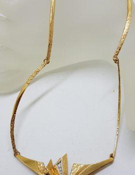 18ct Gold Designer Necklace set with Diamonds in Original Box