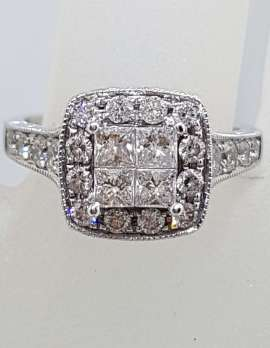 9ct White Gold Square High Set Cluster Diamond Engagement / Dress Ring