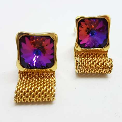 Vintage Costume Gold Plated Cufflinks – Large Square Mystic Purple