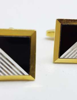 Vintage Costume Gold Plated Cufflinks – Square – Black & Silver