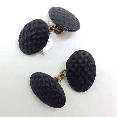 Vintage Costume Cufflinks – Oval – Black