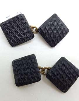 Vintage Costume Cufflinks – Square – Black