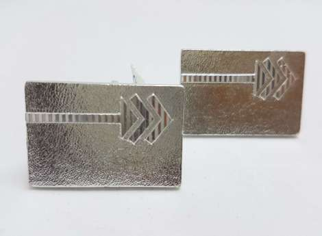 Vintage Costume Silver Plated Cufflinks – Rectangular - Arrow Design