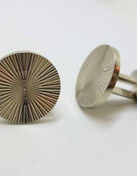 Vintage Costume Silver Plated Cufflinks – Round - Patterned