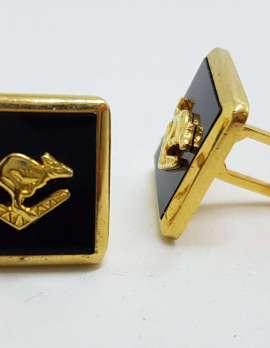 Vintage Costume Gold Plated Cufflinks – Black Square - Kangaroo on Boomerang