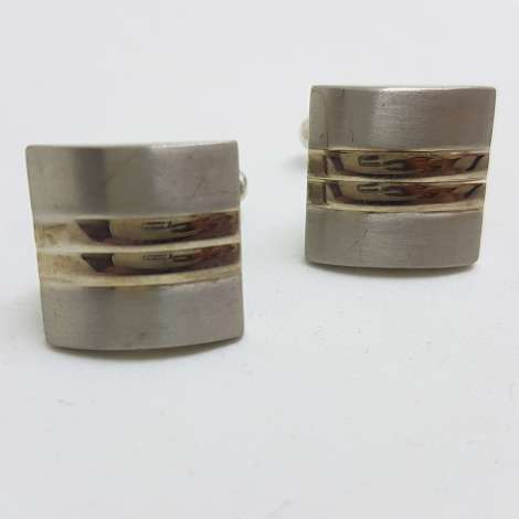 Vintage Costume Silver Plated Cufflinks – Square - Lines