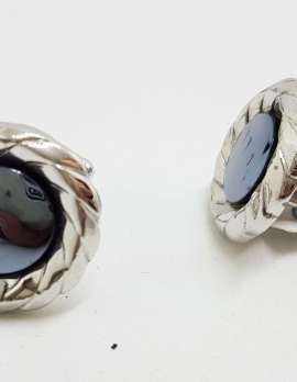 Vintage Costume Silver Plated Cufflinks – Round - Iron Ore