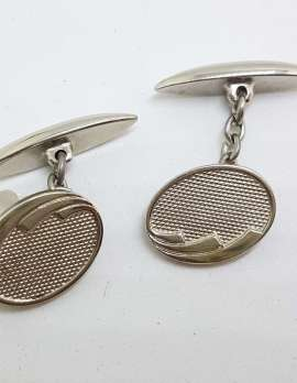 Vintage Costume Silver Plated Cufflinks – Oval - Patterned