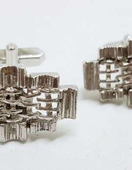 Vintage Costume Silver Plated Cufflinks - Unusual