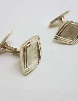 Vintage Costume Silver Plated Cufflinks - Diamond Shape