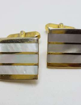 Vintage Costume Gold Plated Cufflinks – Square - Mother of Pearl