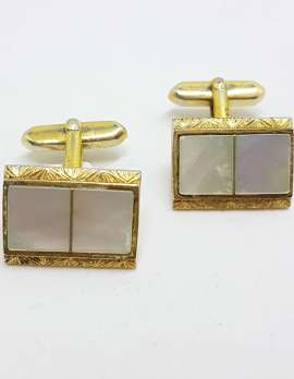 Vintage Costume Gold Plated Cufflinks – Rectangular - Mother of Pearl