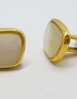 Vintage Costume Gold Plated Cufflinks - Mother of Pearl