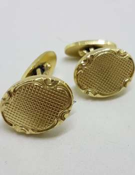 Vintage Costume Gold Plated Cufflinks - Oval - Patterned