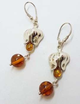 Sterling Silver Natural Baltic Amber Long Drop Earrings – Fuchsia / Flower