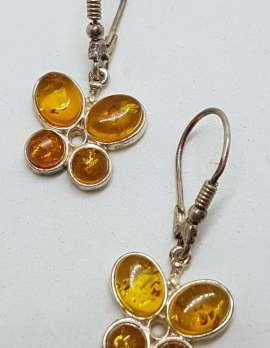 Sterling Silver Natural Baltic Amber Butterfly Drop Earrings