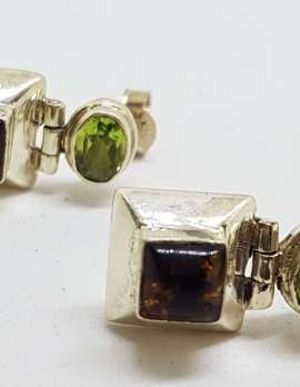 Sterling Silver Natural Baltic Amber and Peridot Stud Drop Earrings