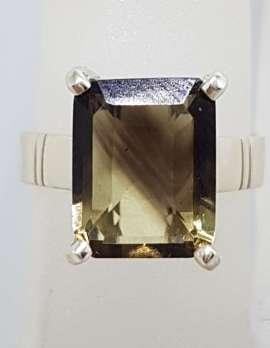 Sterling Silver Rectangular Claw Set Smokey Quartz Ring