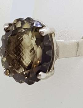 Sterling Silver Oval Unusual Faceted / Carved Claw Set Smokey Quartz Ring